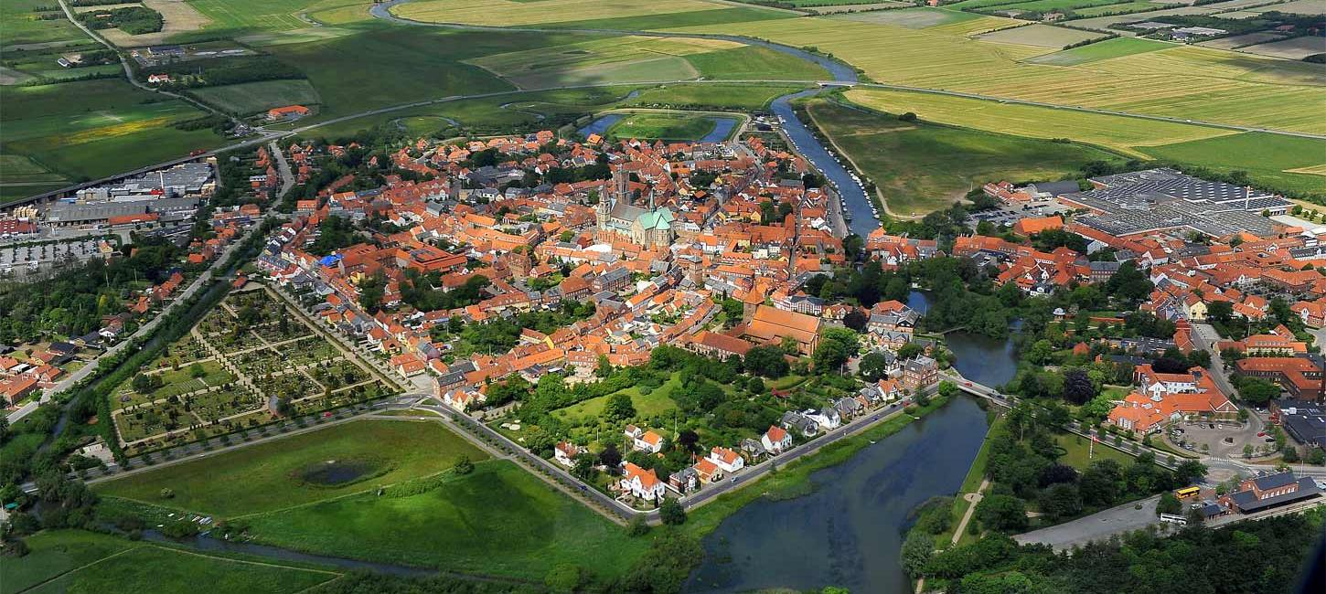 Aerial photo of Ribe | By the Wadden Sea